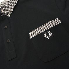 Pocket Detail - Fred Perry Mens Gingham Trim Polo Shirt in Black