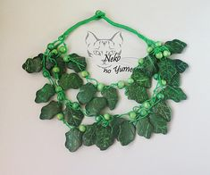 Handmade Necklace Ecological, green leaves necklace wood beads