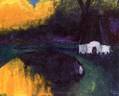 "dappledwithshadow: "" Northern Mill in Autumn Emil Nolde 1932 Private collection Painting - oil on canvas Height: 73 cm (28.74 in.), Width: 88 cm (34.65 in.) """