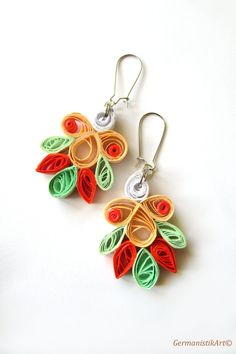 Pastel Quill Paper Earrings Quilled Dangle by GermanistikArt