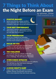www.innerdrive.co.uk What should students be thinking about the night before an exam (apart from their revision)? Are some thoughts more helpful than others? We've looked through the research from the world of sport to find 7 tips to help people achieve the right mindset before a big event. Positive Imagery – Visualising successful performance hasbeen found …