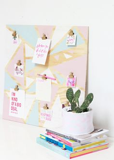 Geometric Organisational Inspiration Board | A Bubbly LifeIf this board doesn't inspire you to get creative, I don't know what will! Like a real life Pinterest board, use it for photos, magazine pull outs, mini art or shopping lists! I love the pastel tones but you can paint it any colour that fits your interior or whatever you adore.