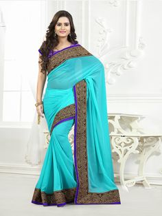 Teal with black and golden embroidery #partywearsaree