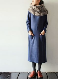Super long dresses, tights, and chunky scarves