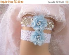FALL SALE Blue Garter Wedding Garter /Lace Garter Set/Something Blue Garter Set/  Rhinestone Garter / Crystal Garter / Garter Belt / Garder