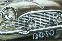 Watercolour painting, PRINT, of a Vauxhall Cresta