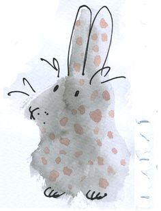 Week 25: dots, indian ink 'blob' converted to rabbit using felt tip pen and watercolour