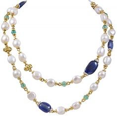 18 k Yellow Gold Colored stone Necklace with Fresh Water Pearls, Diamonds, Iolites, Citrines and Green Onyx Necklace is 38