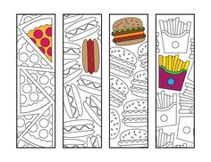 Fast Food Bookmarks PDF Zentangle Coloring Page - pizza, hotdog, hamburger, french fries