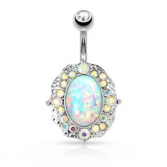 Fire Opal Crystal Flower Belly Ring