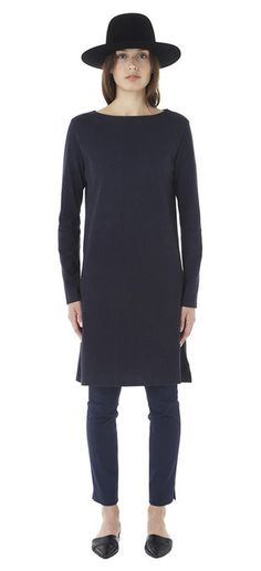 Navy boatneck tee dress -- I'd wear this all the time.  With pants, with leggings, with boots, bare-legged with sandals.