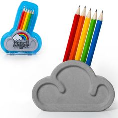RAINBOW PENCIL & ERASER SET    You just can't get much better than a rainbow! Our Rainbow Pencil & Eraser Set hold 5 pencils (included) in an adorable cloud shaped oversized eraser!    This will surely cheer up your workspace!    Measures 4.25 inches wide x 5.5 inches tall.   1      $14.99