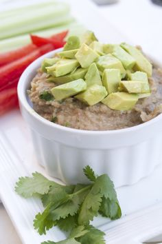 Cayenne Pepper Cilantro Pinto Bean Dip from page 167 in my newest book #SlimDownNow #pulses #glutenfree #soyfree #dairyfree #healthyrecipes #healthy #cleaneating #healthyeating #cynthiasass #beans #plantbased #avocado #fiber #antioxidants