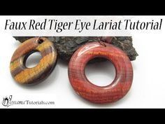 In this tutorial I'll show you how to make a polymer clay lariat necklace out of faux red tiger eye. We will be making a resinned donut pendant, cone beads and our own end cap, all out of faux red tiger eye. Easy Polymer Clay, Polymer Clay Sculptures, Polymer Clay Canes, Polymer Clay Miniatures, Polymer Clay Necklace, Polymer Clay Pendant, Polymer Clay Projects, Resin Tutorial, Red Tigers Eye