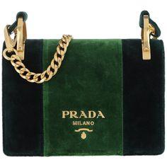Prada Shoulder Bag - Velvet Shoulder Bag Smeraldo+Alloro - in green -... ($1,880) ❤ liked on Polyvore featuring bags, handbags, shoulder bags, green, prada tote, tote purses, green tote bag, woven tote bags and tote handbags