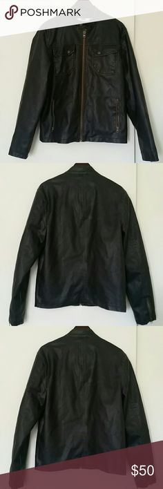 Men's American Rag Faux Leather Jacket Men's American Rag Faux Leather Jacket  Size: Large Color: Brown  Stylish Faux Leather Jacket Hardly worn Great for Fall/Winter season Few scratches on back but only enhances the ruggedness of the jacket American Rag Jackets & Coats