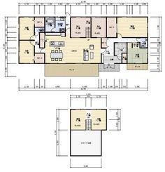 63坪、平屋で中二階スペースのある間取り