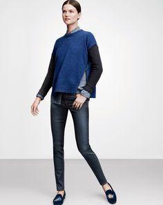 J.Crew women's zip sweater, toothpick cone denim, and Stubbs & Wootton velvet slipper.