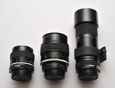 Micro-Nikkor Parade | by matthias.thorsen  Micro-Nikkor AiS 55/2.8 (left)  Micro-Nikkor Ai 105/4 (middle)  Micro-Nikkor Ai 200/4 (right)