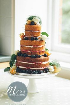 naked wedding cake- raspbery filling