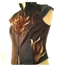 Zipper top Silk top, fitted, cap sleeve quilted, brown print, fully lined TAPP Tops