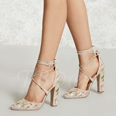 Embroidery Floral Vintage Chunky Heel Lace-Up Banquet Pointed Toe Women's Shoes