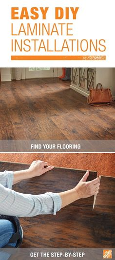 Most DIYers can install an entire room of laminate flooring in one day. Most laminate flooring comes in planks that simply snap together with a tongue-and-groove system. The planks can be cut with a circular saw or hand saw, too. Click through for the step-by-step!: