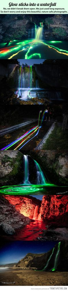 Glow sticks in a waterfall…