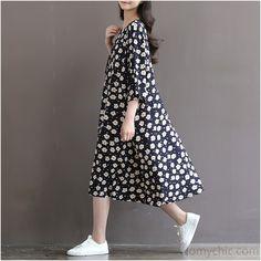 Flowy cotton dresses-Retro daisy print oversize cotton dresses half sleeve cotton sundress traveling dresses plus size