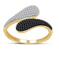Yellow Gold Over 925 Sterling Silver Round Black & White Diamond Bypass Ring Bypass Ring, White Gold, Black And White, Silver Rounds, Diamond Rings, Wedding Bands, Rose Gold, Sterling Silver, Ebay