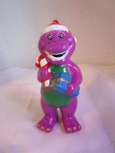"1999 Barney the Purple  Dinosaur Christmas 4.5"" Ornament with Candy Cane & Gifts"