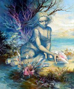 rima vjugovey art - Page 2 Spirit Art, Angels Among Us, Beach Art, Art Pages, Jewel Tones, Faeries, Art School, Surrealism, Cool Art