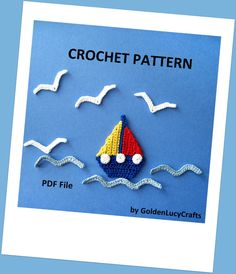 Sailboat, Seagull and Waves Applique Crochet PATTERN, PDF