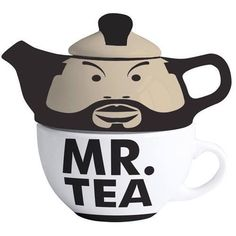 MR TEA CUP & TEAPOT SET RETRO GIFT CERAMIC NOVELTY A TEAM B A BARACUS COFFEE