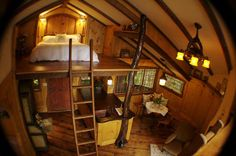 Modern Tree House Designs Bring Back Romantic Backyard Ideas Treehouse Loft Bed, Cabin Loft, Cozy Cabin, Treehouse Cabins, Winter Cabin, Loft House, Cozy Cottage, Tree House Interior, Bungalow