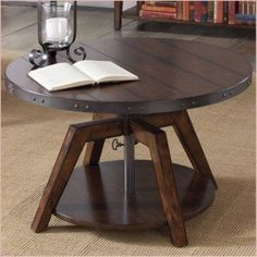 Coffee Table Convert To Dining Table, Unique Coffee Table, Round Coffee Table, Kitchen Tables, Dining Tables, Dining Set, Outdoor Dining, Living Furniture, Home Office Furniture