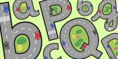 Roads Display Lettering & Symbols - A set of A4 sized images, each with lowercase A-Z alphabet letters. This resource can be used to hang up in the classroom or as alphabet flashcards.