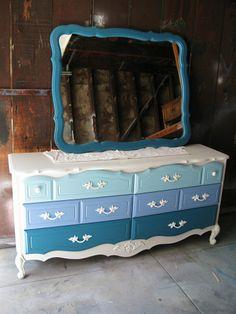 Vintage Refurbished Blue Ombre French Provincial Dresser  MIrror Combo. $449.00, via Etsy.