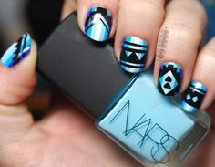 These tribal nail designs are incredible! Loooove the colors.