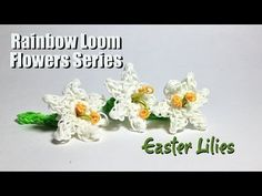 Rainbow Loom Flowers Series: Easter Lilies tutorials by PG's Loomacy. You will need both the Rainbow Loom and the RL Monster Tail to make this. :-(