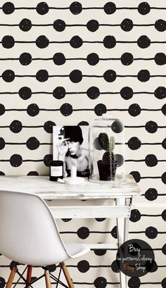 Dots Wallpaper B&W removable mural Peel and stick Wall Marimekko Wallpaper, Print Wallpaper, Pattern Wallpaper, Bubbles Wallpaper, Classy Wallpaper, Herringbone Wall, Black And White Tiles, Wall Decor, Room Decor