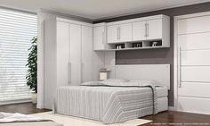 Quarto de Casal Modulado Completo 5 módulos Modena Branco Textil - Demóbile | Lojas KD