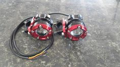 We have a range of spots and fog lights available for sale. R1500. 00 a set. Red only.