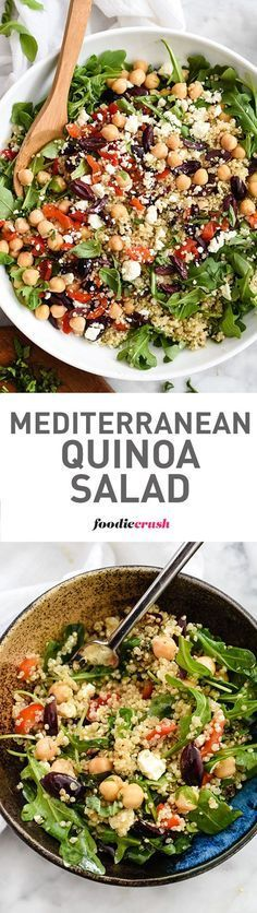 This healthy quinoa salad is one of the easiest you'll make thanks to staples from your fridge and pantry   foodiecrush.com