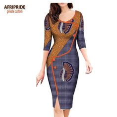 Image of 2018 african spring dress for women AFRIPRIDE three quarter sleeve knee-length split casual women dress button decoratioA7225160