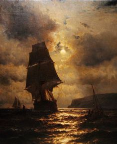 Mauritz de Haas - Moonlight clipper ship and boats off the coast of long Island Old Sailing Ships, Ship Paintings, Boat Art, Nautical Art, Fantasy Landscape, Tall Ships, Sailboat, Ocean, Photos