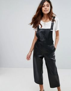 Shop the latest Mango Faux Leather Overalls trends with ASOS! Free delivery and returns (Ts&Cs apply), order today! Leather Overalls, Leather Jumpsuit, Bib Overalls, Black Dungarees, Tailored Jumpsuit, Olivia Culpo, Asos Petite, Jumpsuits For Women, Mannequin