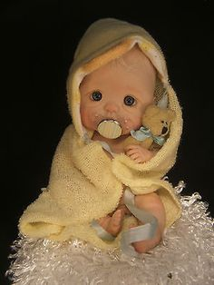 MINI COLLECTABLE OOAK POLYMER CLAY BABY ART DOLL SCULPT w SCALE by RASBUBBYHILL