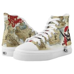 Pirate Skull Island Location Map Printed Shoes