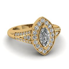 Marquise Halo Split Vintage Engagement Rings with Diamonds in 14K Yellow Gold exclusively styled by Fascinating Diamonds